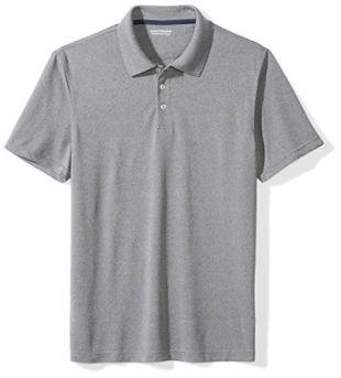 Amazon Essentials Men's Slim-Fit Quick-Dry Golf Polo Shirt, Medium Heather Grey, Small