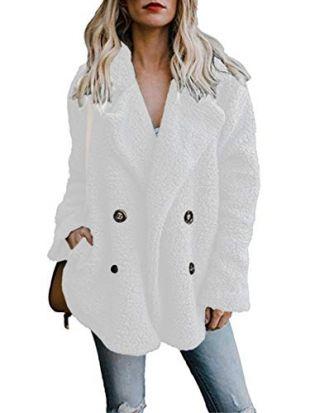 Famulily Women's Double Breasted Lapel Open Front Warm Fleece Coat with Pockets Winter Jacket Outwear Beige Large