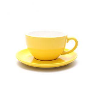 Coffeezone Cappuccino Barista Cup and Saucer Latte Art & Americano, New Bone China Coffee Shop Use (Matte Yellow, 8.5 oz)