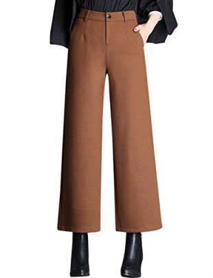 Tanming Women's Thick Wool Blend Cropped Wide Leg Pant Trousers (Small, Brown)