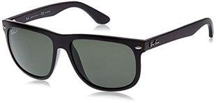 Ray-Ban unisex adult Rb4147 Boyfriend Sunglasses, Black/Polarized Green, 60 mm US