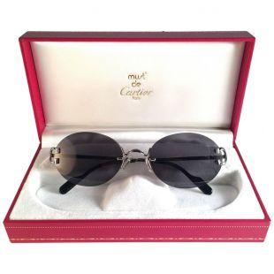 Cartier Scala Rimless Grey Lens Sunglasses
