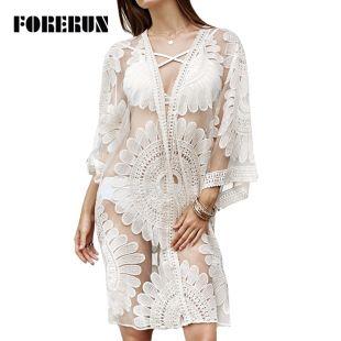 FORERUN – Cardigan Kimono en dentelle blanche broderie florale