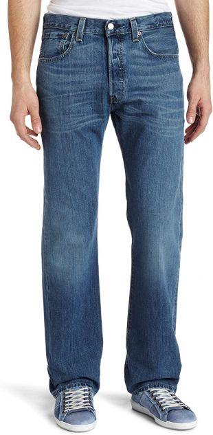 501 Original Fit Jeans Straight Leg Button Fly 100% Cotton Blue Black