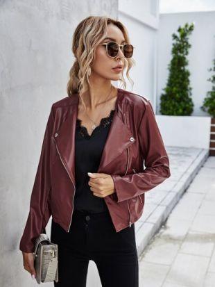 Zip Up PU Leather Jacket
