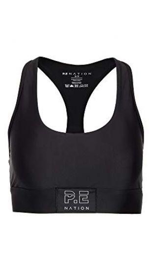 P.E NATION Women's Endurance Sports Bra, Black, Small