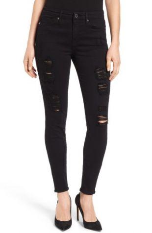 Good American Good Legs High Rise Ripped Skinny Jeans (Black 002) | Nordstrom