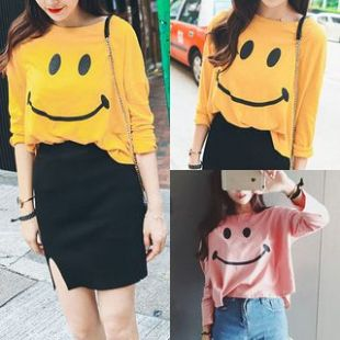 Buy Tiny Times Smiley Face Long Sleeve T Shirt | YesStyle