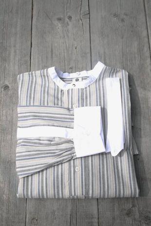 men's Edwardian shirt, vintage style striped shirt for detachable collars, peaky blinders shirt, grey blue striped mens shirt, 1930, 1920