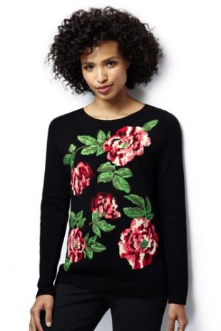 Women's Cotton Intarsia Sweater