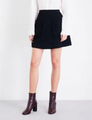 SANDRO Ruffled detail knitted skirt