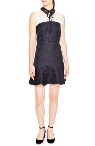 sandro Lace Yoke Jacquard A Line Dress | Nordstrom