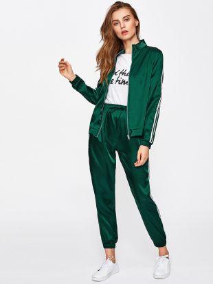 Side Striped Sleeve Zip Up Jacket With Drawstring Sweatpants  SheIn(Sheinside)
