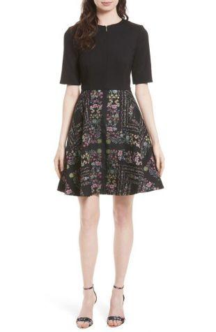 Ted Baker London Black Mooris Unity Floral Flare Dress size 3 (US 8) $315 | eBay