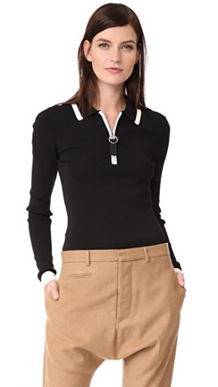 Grey Jason Wu Long Sleeve Polo Sweater | SHOPBOP