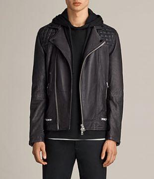 ALLSAINTS US: Mens Conroy Leather Biker Jacket (INK NAVY)