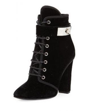 Giuseppe Zanotti Lace Up Velvet Ankle Buckle Boot, Black (Nero)