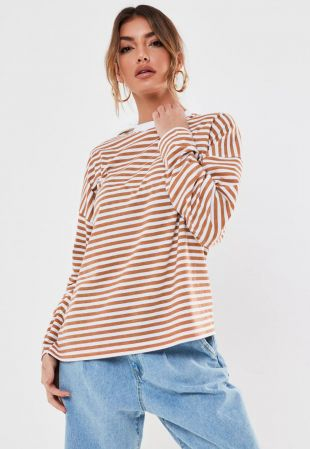Camel Stripe Drop Shoulder Long Sleeve T Shirt
