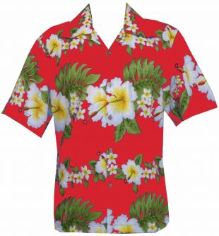 Hawaiian Shirt Mens Hibiscus Floral Print Aloha Party Beach Camp  | eBay