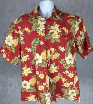 CAMPIA MODA 100% Cotton Hawaiian Shirt LARGE RED PALMS GREEN BEIGE Extra Buttons  | eBay
