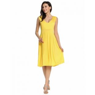 Women V Neck Sleeveless Solid Fit and Flare Casual Dress DEAML   Walmart.com