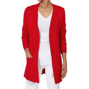 TheMogan Women's S~3X Dual Pocket Longline Open Front Knit Sweater Cardigan   Walmart.com