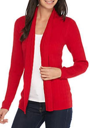 Kim Rogers® Petite Solid Cable Cardi