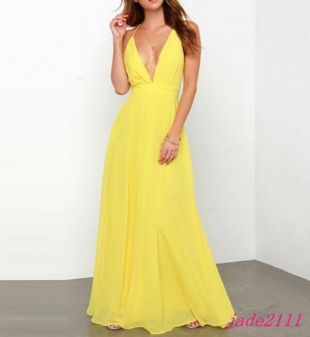 New Womens Yellow Party Dinner Deep V neck Long Dress Sleeveless Maxi Prom Party | eBay