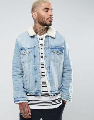 ASOS Fleece Lined Denim Jacket In Mid Wash at asos.com
