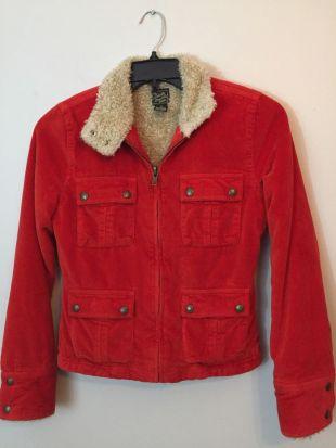 Lucky Brand Womens Corduroy Sherpa Jacket  Fitted Orange Zip Up Medium | eBay