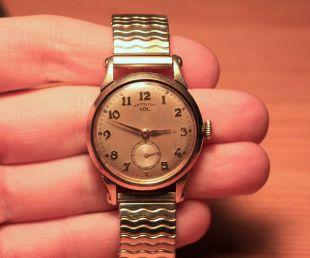 Hamilton CLD Haddon Model 10K GF wristwatch w Speidel band c. 1953