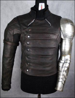 Veste en cuir véritable avec des inserts en cuir et néoprène argent