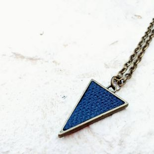 Minimal leather triangle necklace geometrical charm antique bronze dark blue indigo textured repurposed leather