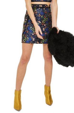 Topshop Satin Jacquard Wrap Skirt  