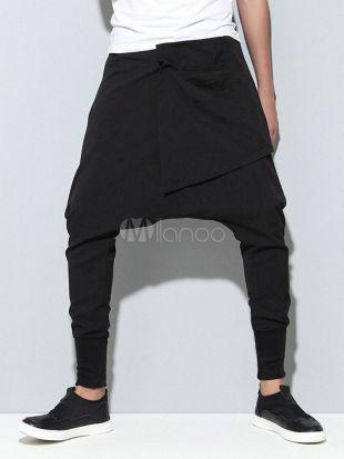 Hommes Sarouels Pantalon d'entrejambe Drop Pantalons Harem Pantalon Jogger noir