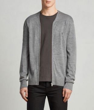 AllSaints - Cardigan Mode Merino Zip (grey marl)