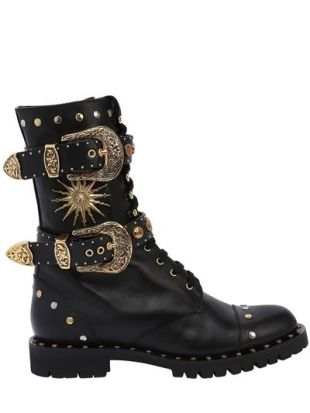 20MM BUCKLES & STUDS LEATHER COMBAT BOOT