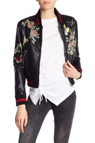 Patch and Print Detailed Faux Leather Bomber Jacket