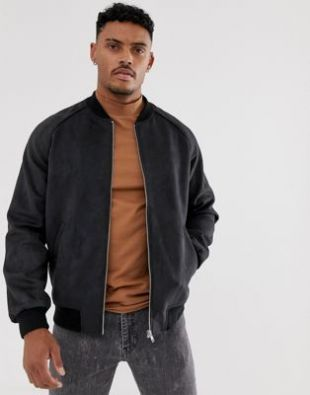 faux suede bomber jacket in black