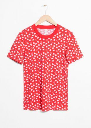 Cotton T Shirt   Red heart print