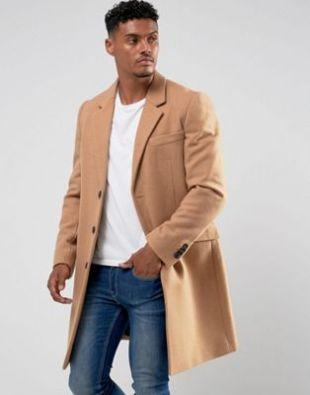 ASOS Wool Mix Overcoat In Camel at asos.com