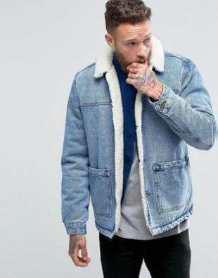 ASOS   Veste en jean à doublure imitation peau de mouton -  Bleu délavé at asos.com