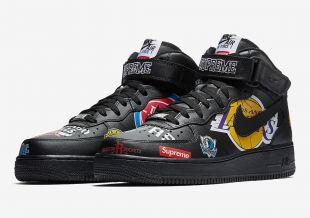 La paire de Nike x Supreme x NBA Air Force 1 Mid Black