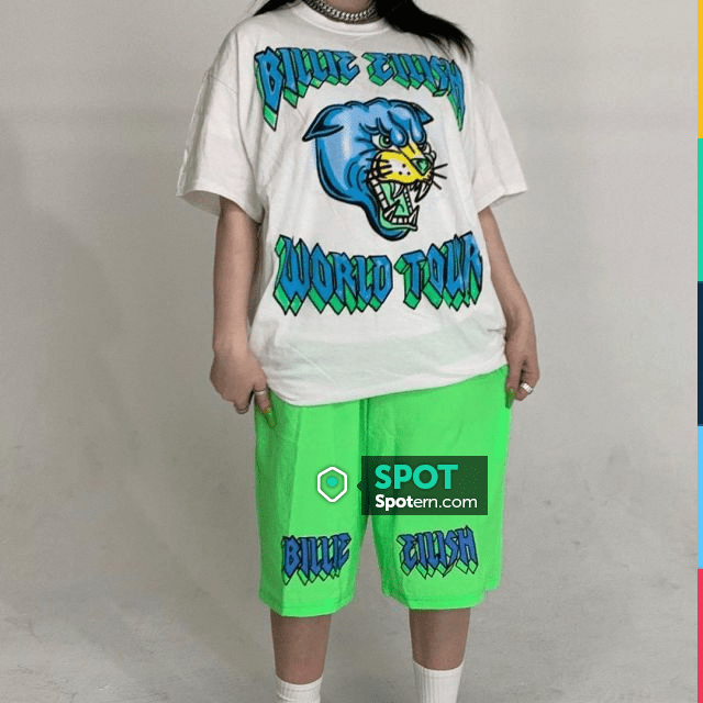 Billie Eilish Flames Merch Shorts In Green Worn By Billie Eilish On Her Instagram Account Billieeilish Spotern