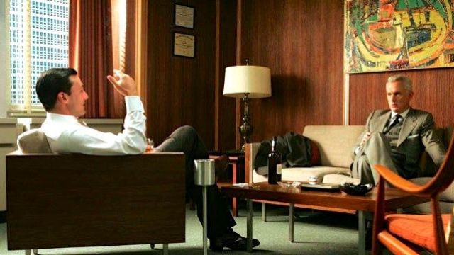 "The table ""Butternut"" in the office of Don Draper (Jon Hamm) in Mad Men S01E05"