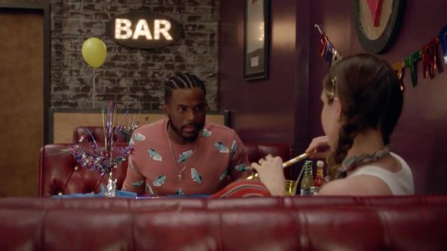 "Aaron Jackson's (Trevor Jackson) Forever 21""Car Print"" sweatshirt as seen in Grown-ish S01E05"
