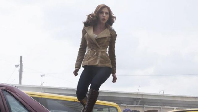 Beige Leather Jacket worn by Black Widow (Scarlett Johansson) as seen in Captain America: Civil War