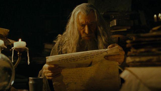 Isildur's Scroll read by Gandalf (Ian McKellen) as seen in