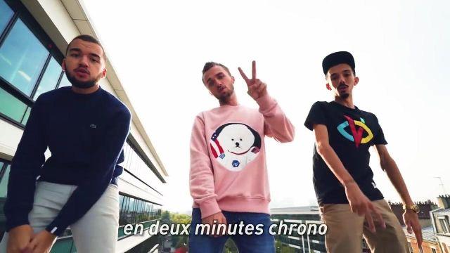 Le sweatshirt BeyondCloset Apollo Dog gris de Squeezie dans le clip de Freestyle du Dico (feat. Bigflo & Oli)