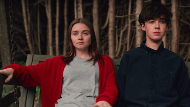 Red knit sweater worn by Alyssa (Jessica Barden) in The End of the F***ing World 1x01